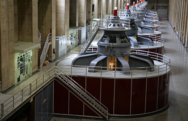 arrangement of hoover dam generators at a plant - hydroelectric power stock photos and pictures