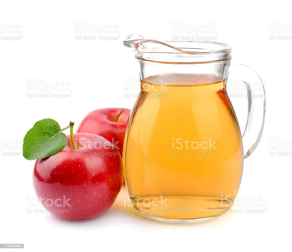 Arrangement of it her of apple juice with two apples stock photo