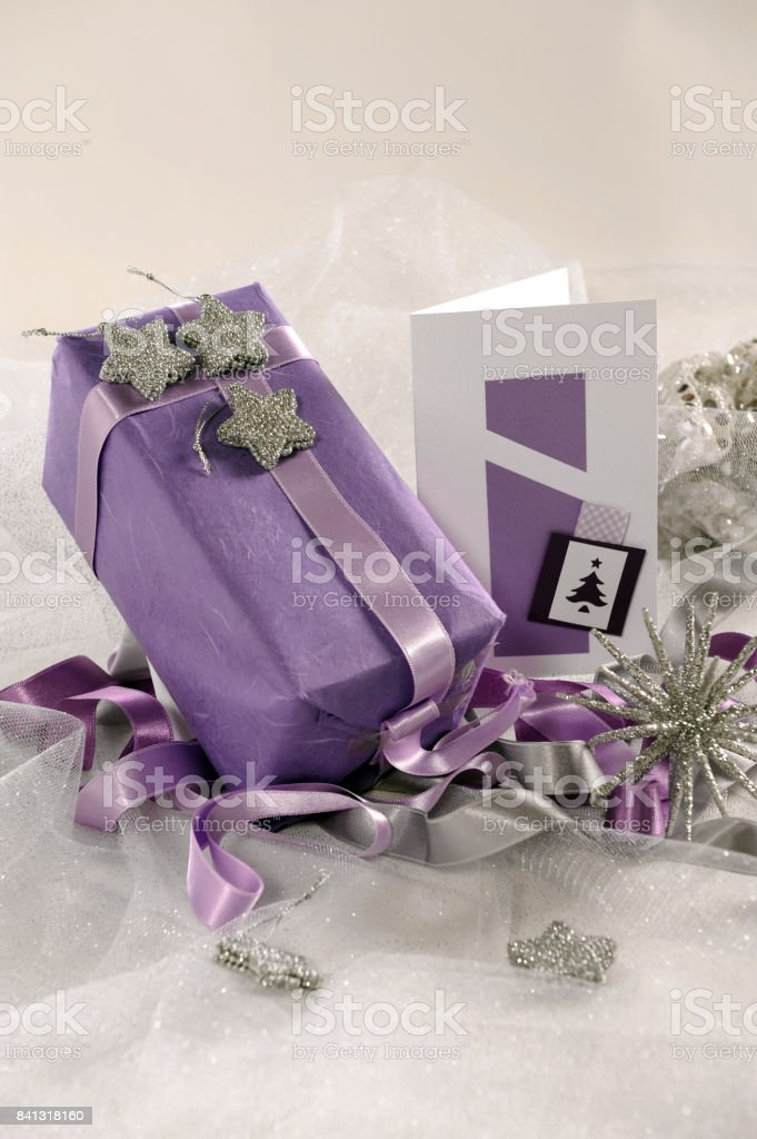 Arrangement of New Year's cards with a gift stock photo