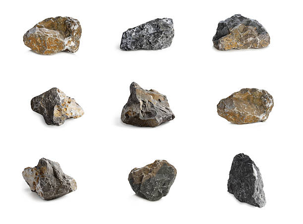 Arrangement of nine rocks with different colors and textures Rock Isolated on White background rock object stock pictures, royalty-free photos & images