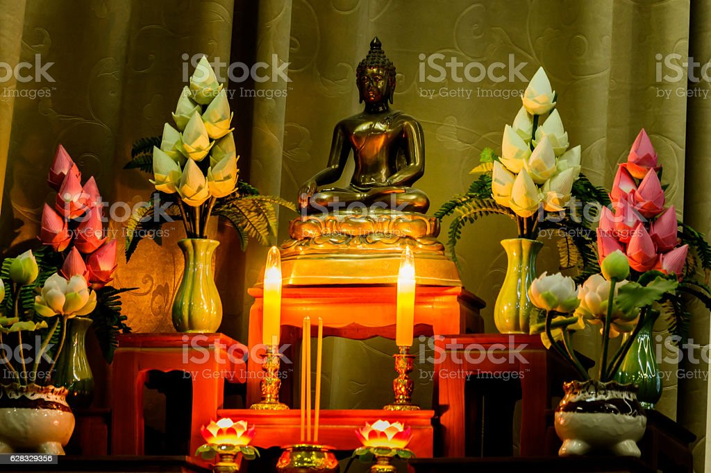 arrangement of offerings in Buddhism's faith stock photo