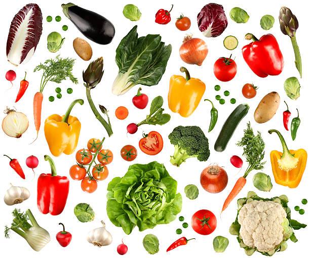 arrangement of several vegetables against white background - pea sprouts bildbanksfoton och bilder