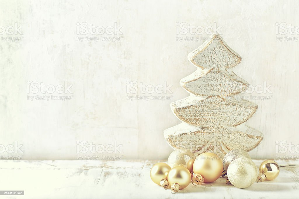 Arrangement of vintage Christmas decorations on a rustic wooden background stock photo