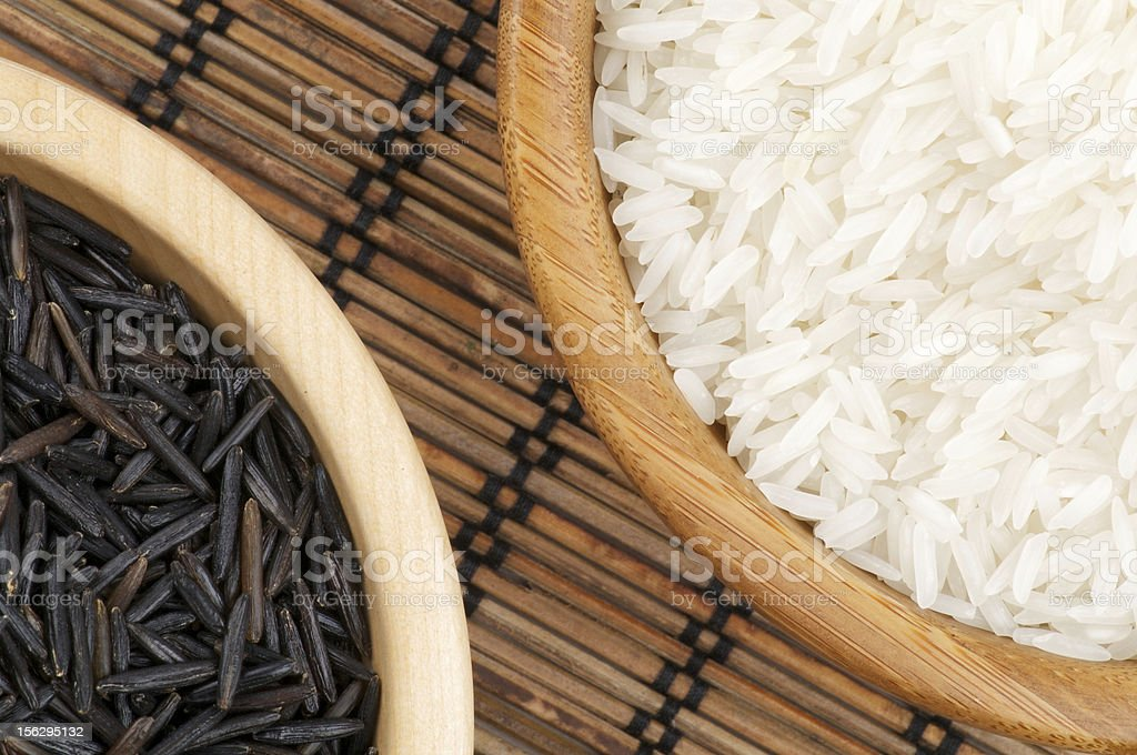 Arrangement of White and Wild Brown Rice royalty-free stock photo