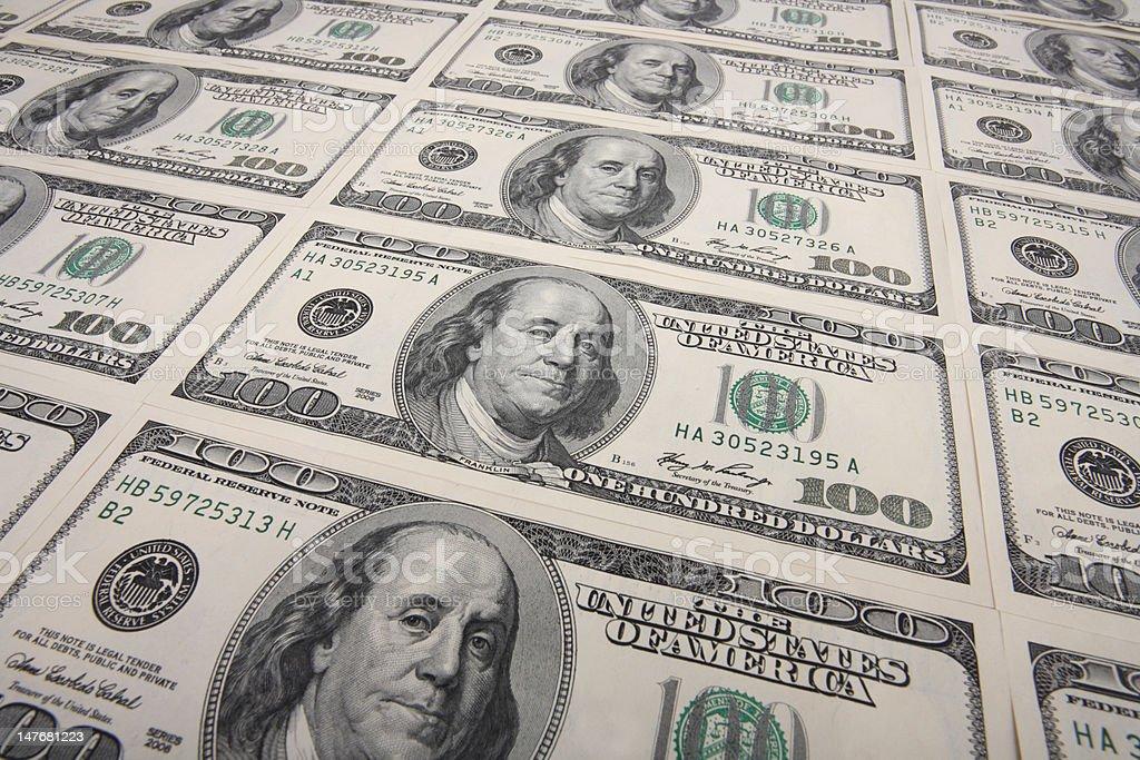 arrangement of100 dollar bills royalty-free stock photo