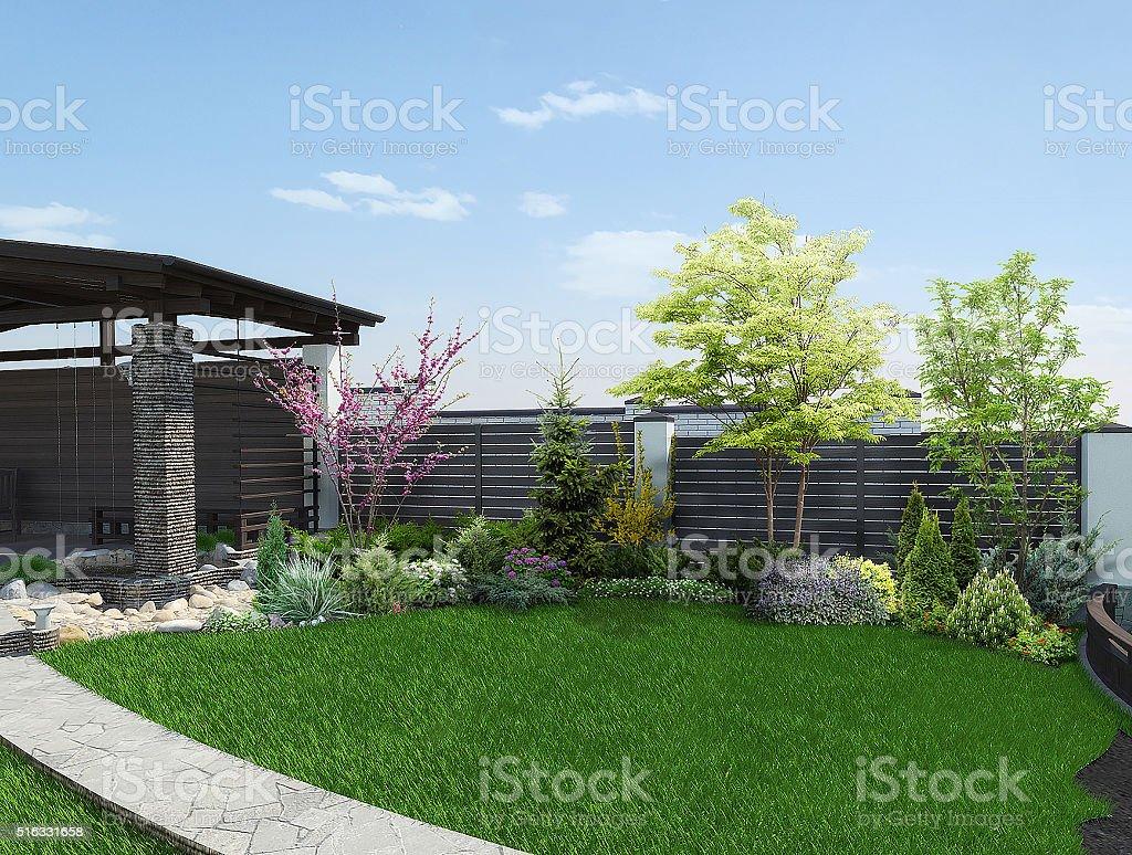 Arrangement Terrasse, Wohnzimmer, 3d render – Foto