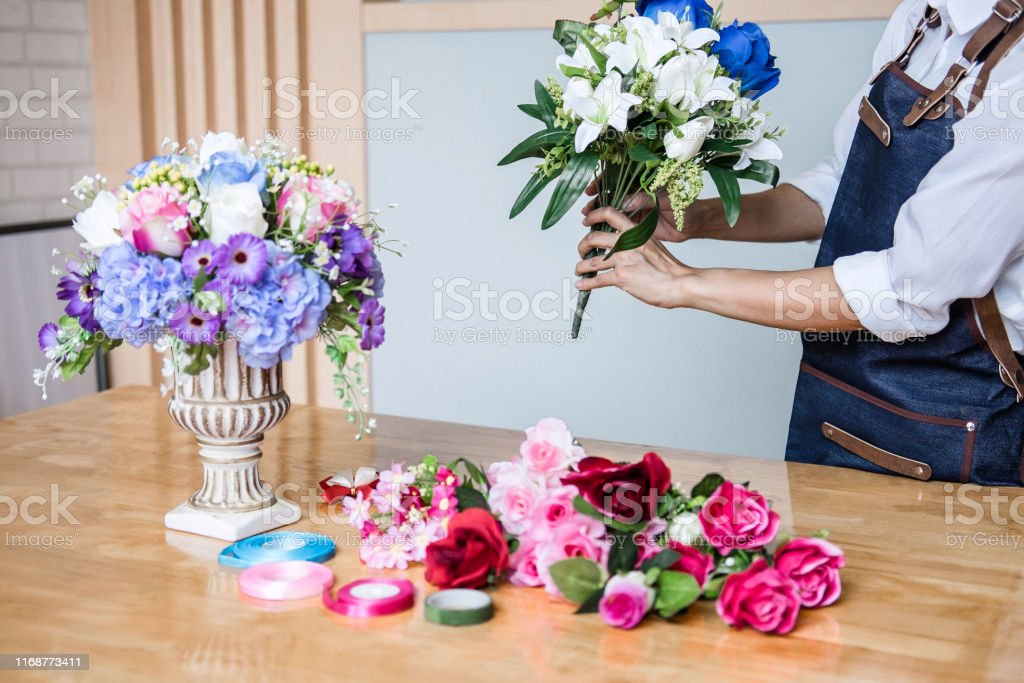 Arranging Artificial Flowers Vest Decoration At Home Young Woman Florist Work Making Organizing Diy Artificial Flower Craft And Hand Made Concept Stock Photo Download Image Now Istock