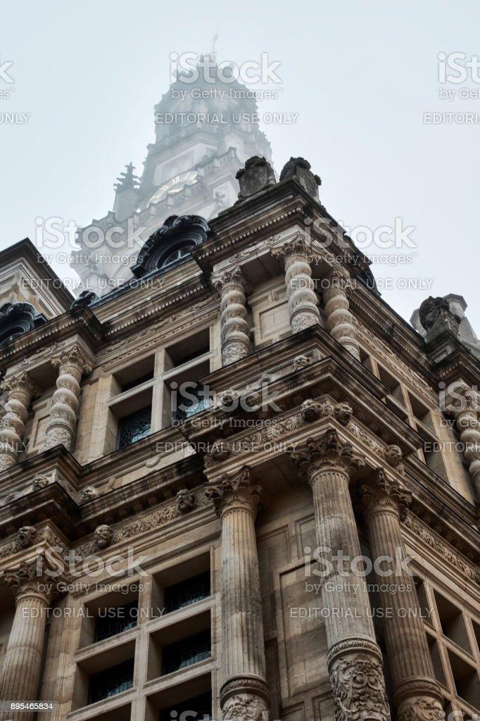 Arras steeple in the fog stock photo