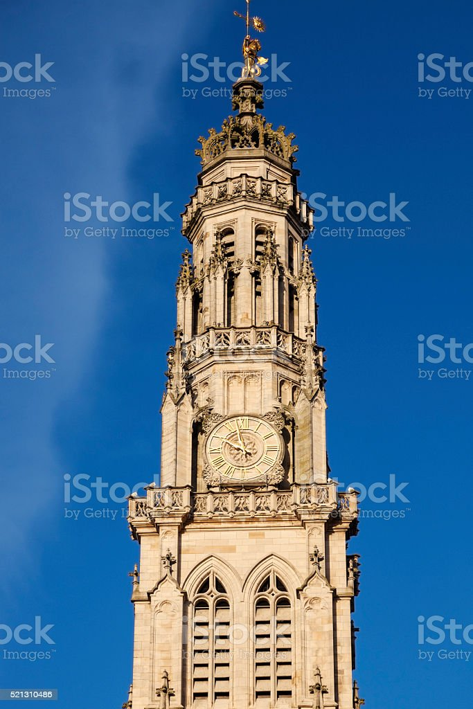 Arras Town Hall on Place des Heros stock photo