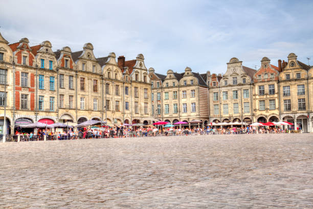 Arras town square in France stock photo