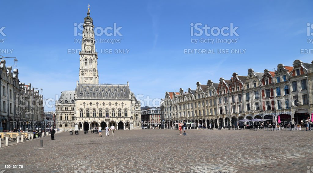 Arras town square with town hall in France stock photo