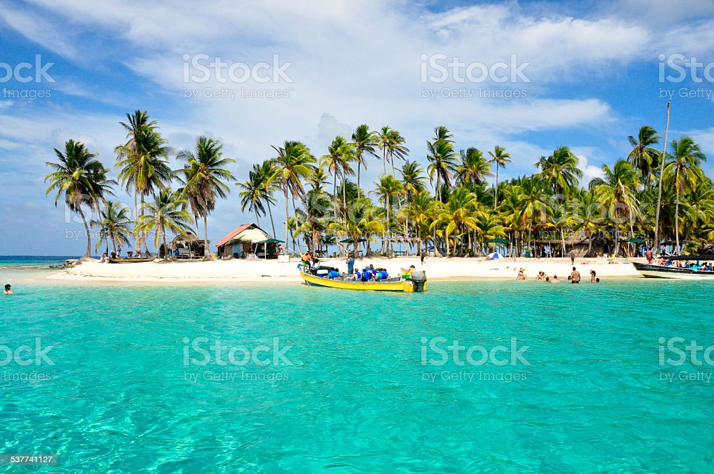 Arraving at a caribbean tropical Island, San Blas, Panama. Trave stock photo