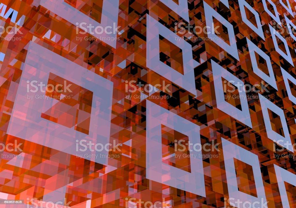 Matriz 3D. Representación de la computadora del modelo 3D. Fondos geométricos abstractos, fondo. - foto de stock