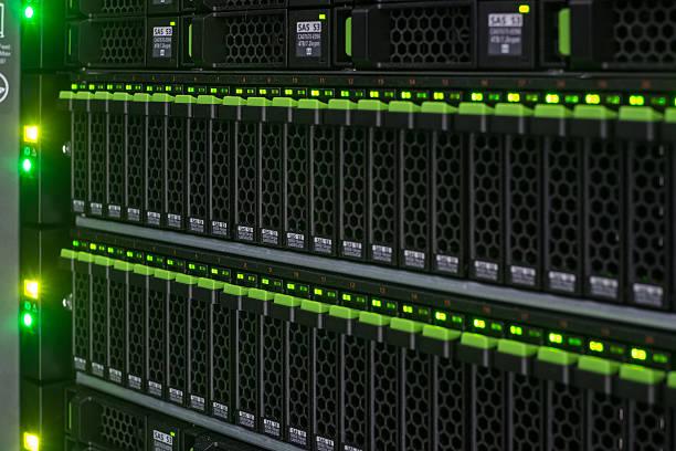 Array disk storage in data center stock photo