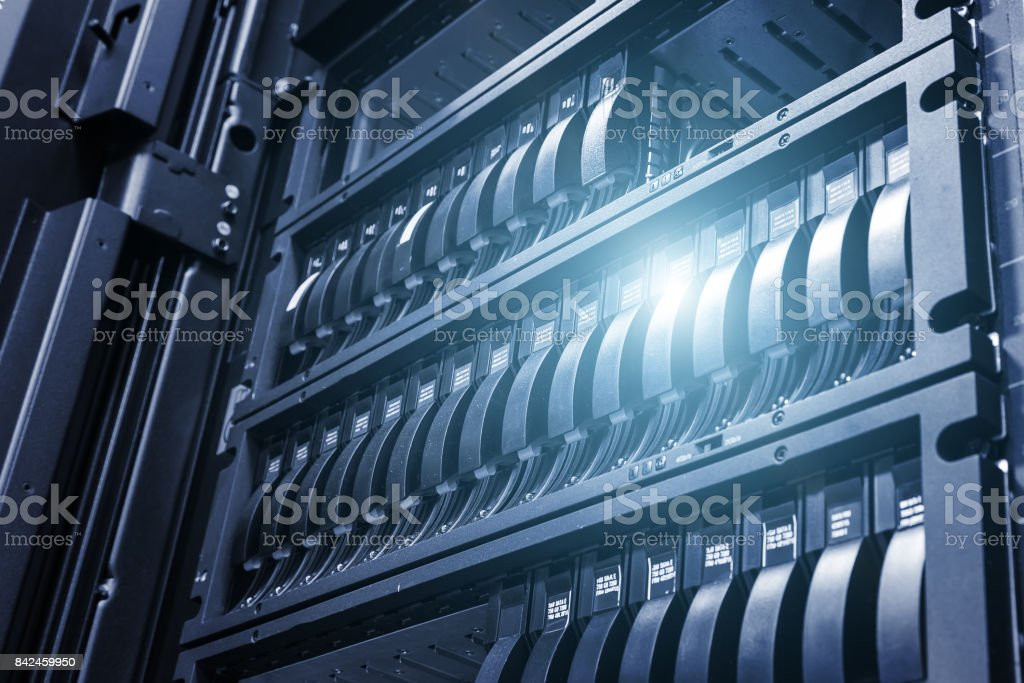 Array disk storage in data center with depth of field in cool tone with ligh stock photo