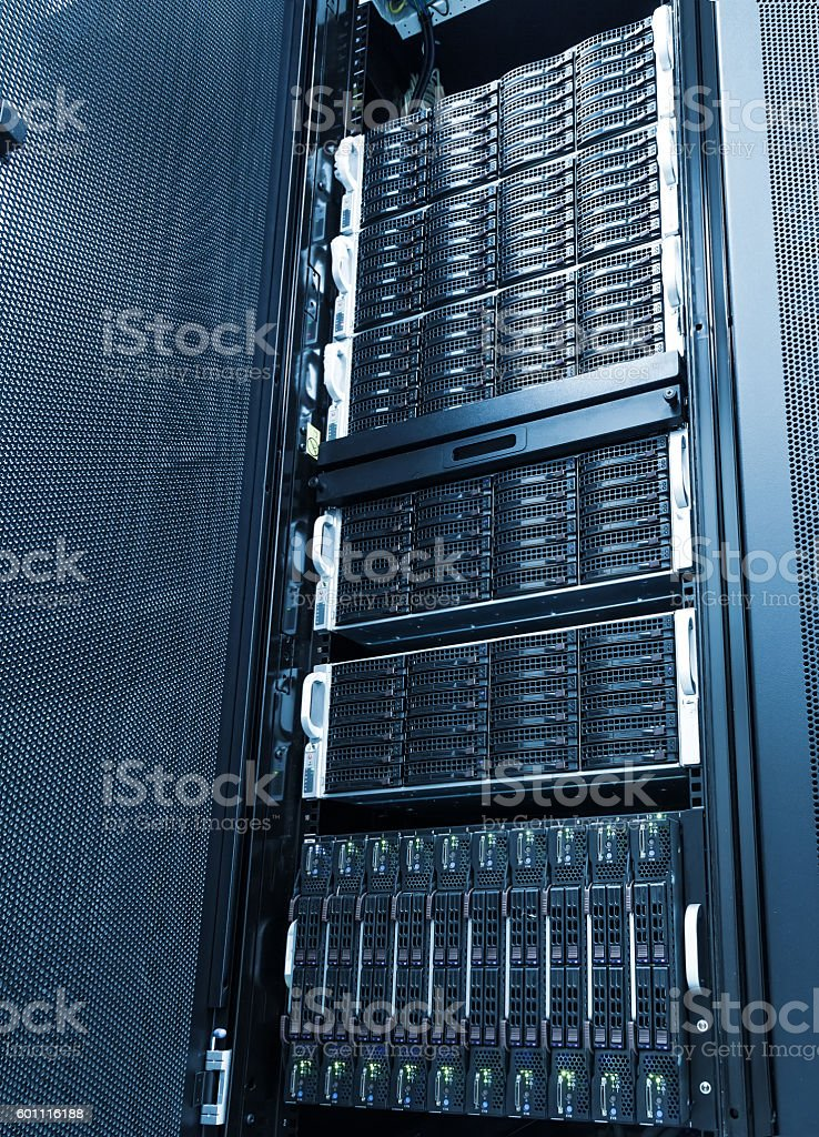 Array disk storage in data center with depth of field stock photo