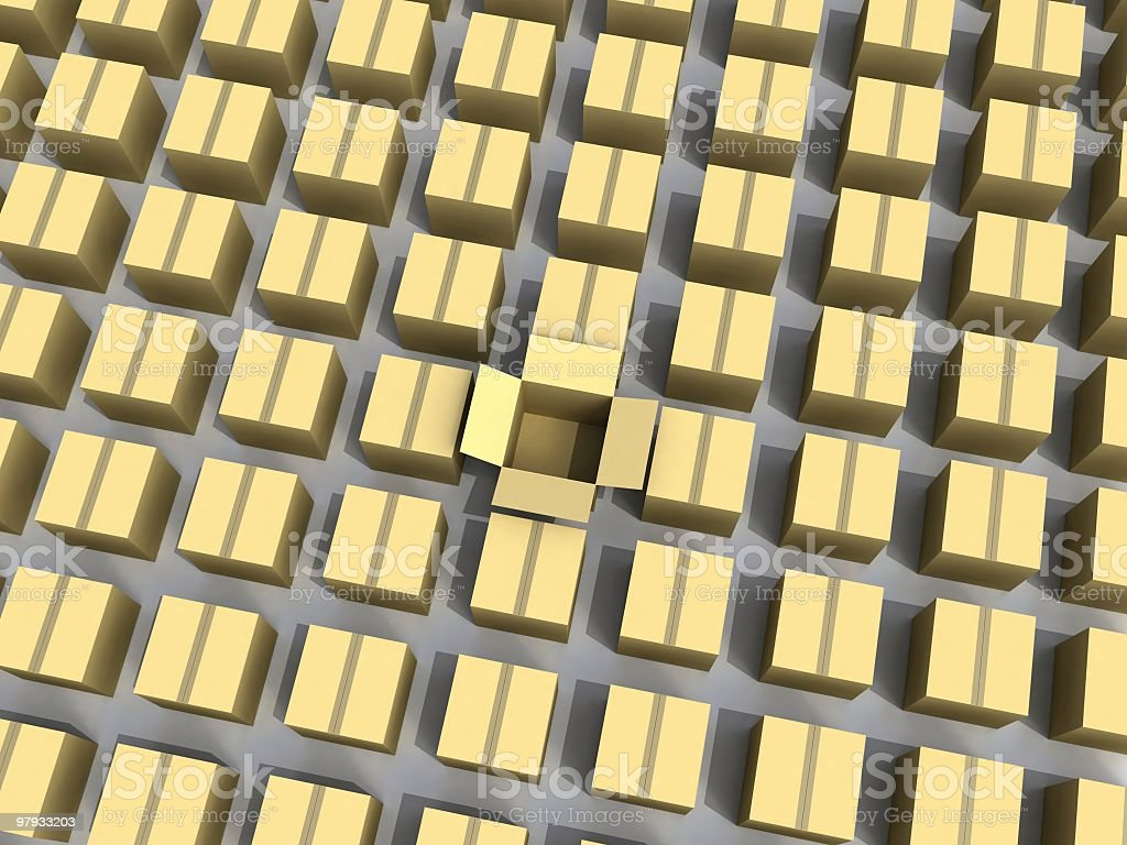 3D array of boxes royalty-free stock photo