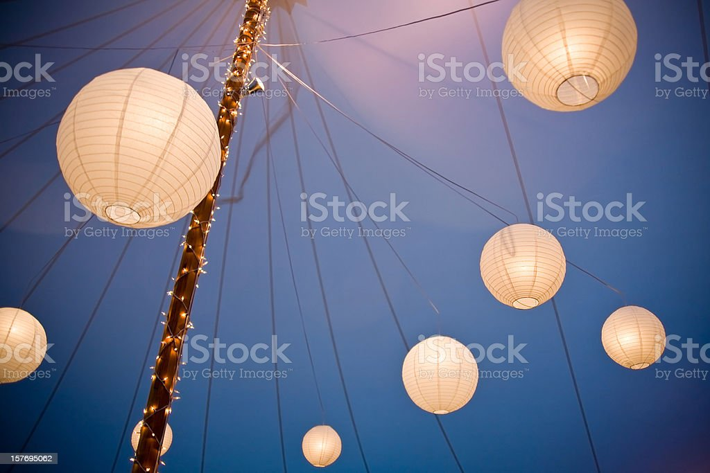 Array of Chinese Paper Lanterns royalty-free stock photo