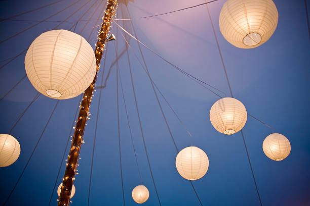 Array of Chinese Paper Lanterns stock photo