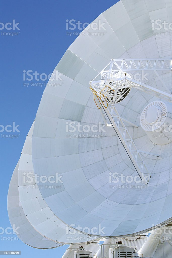 array of deep space telescopes, isolated with clipping path stock photo