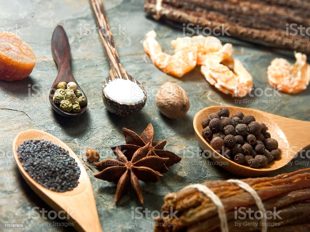 Array of fresh and ground spices royalty-free stock photo