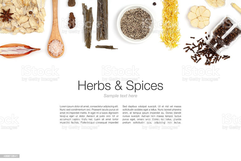 Array of herbs and spices isolated on white stock photo