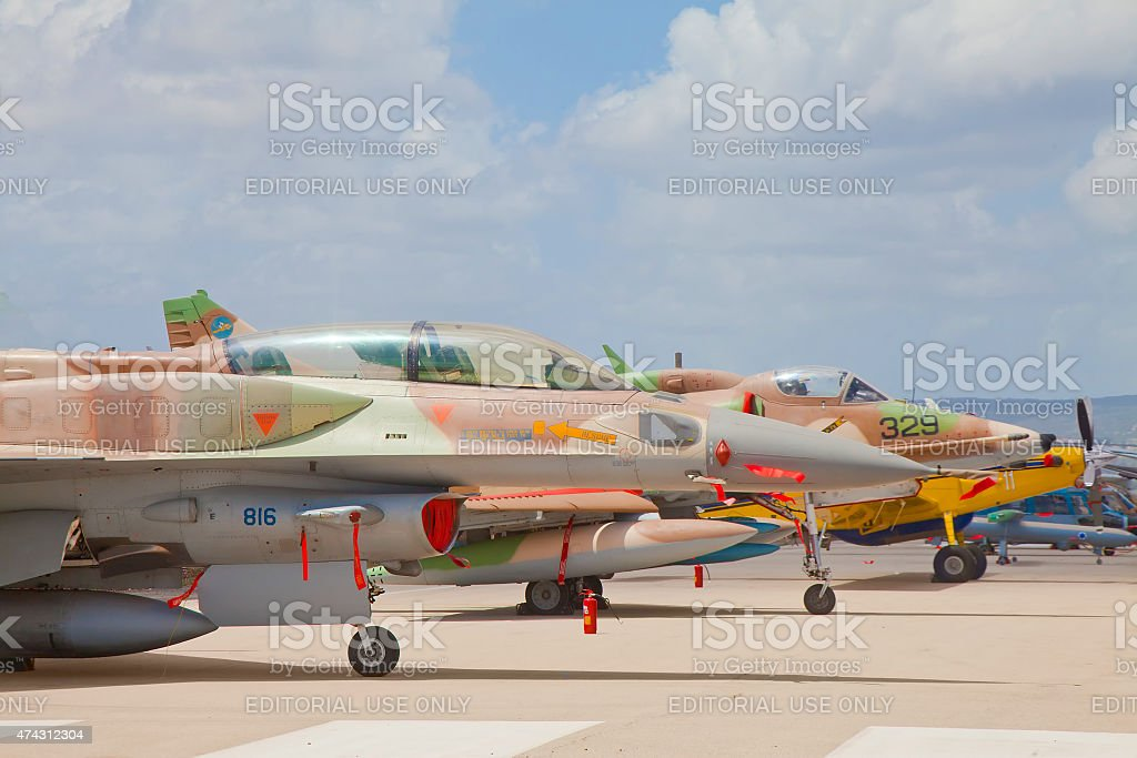 Array of military aircrafts at an exhibition stock photo