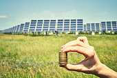 istock array of polycrystalline silicon solar cells in solar power plant turn up 1156721377
