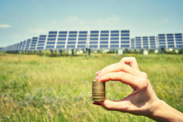 array of polycrystalline silicon solar cells in solar power plant turn up stock photo