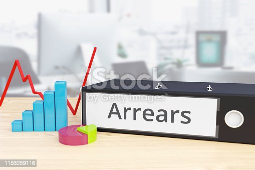 Arrears - Finance/Economy. Folder on desk with label beside diagrams. Business