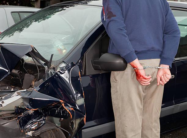 Arrested after car crash stock photo
