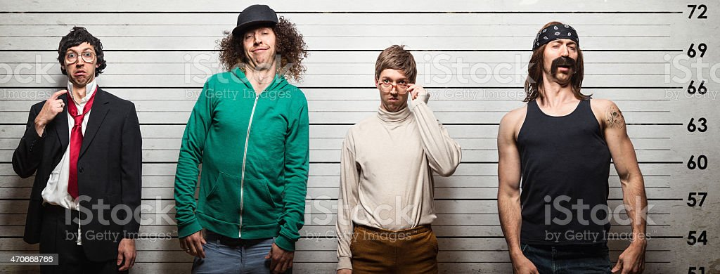 Arrested Men Mugshot at Police Station stock photo