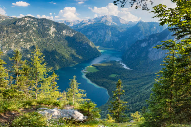 Arrial view to Lake Königssee in Nationalpark Berchtesgaden stock photo