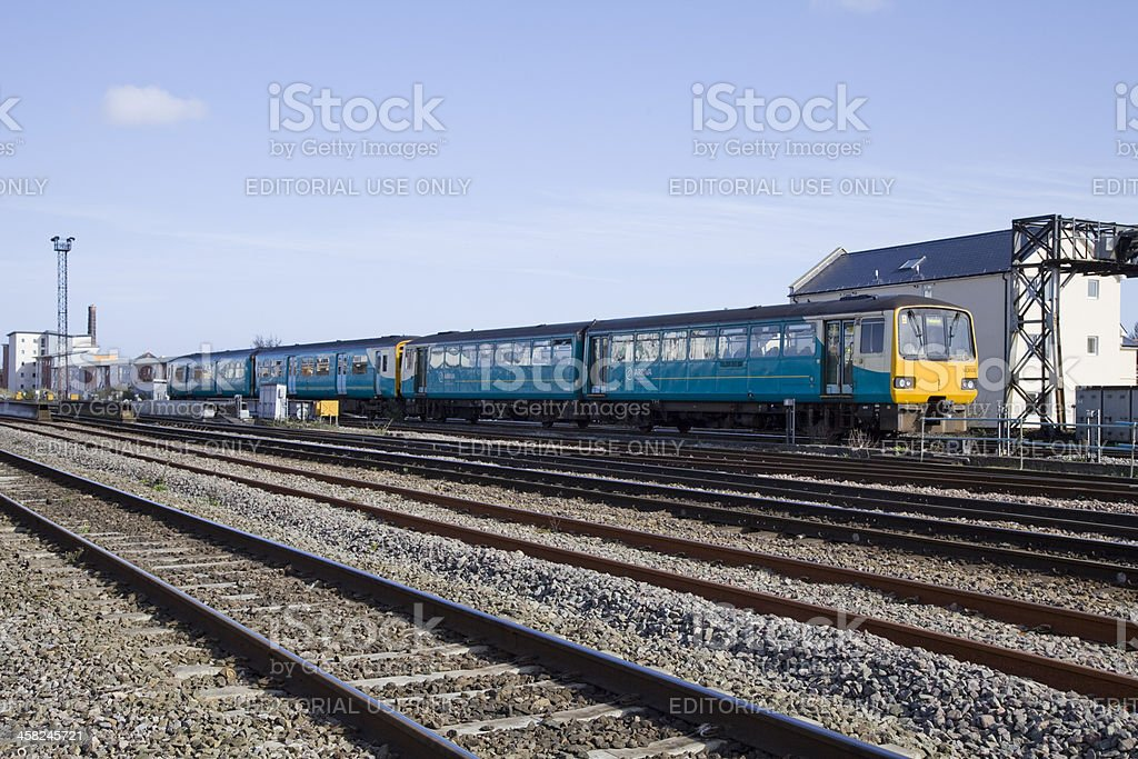 Arriva Trains Wales Train Leaves Cardiff Station behind stock photo
