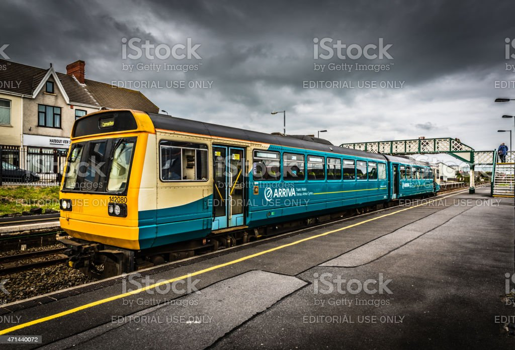 Arriva Wales local train at Welsh station stock photo