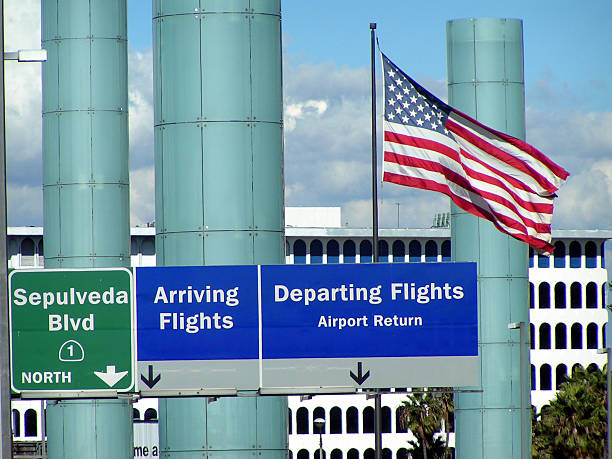 Arrival and Departing Airport signs stock photo