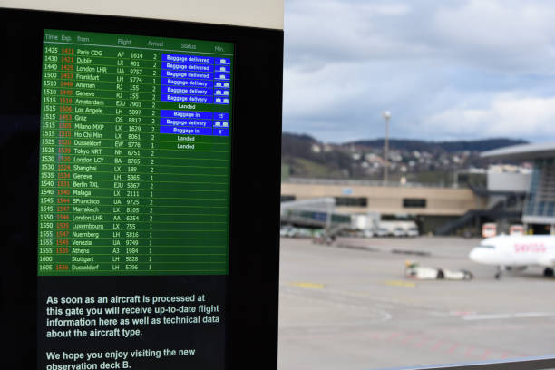 Arrival and Departure board stock photo