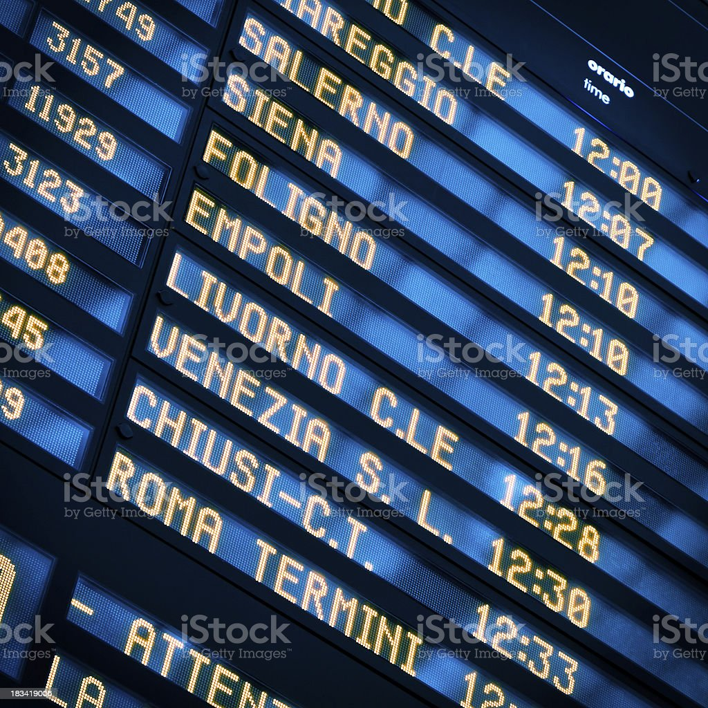 Arrival and Departure Board, Train Station in Italy stock photo