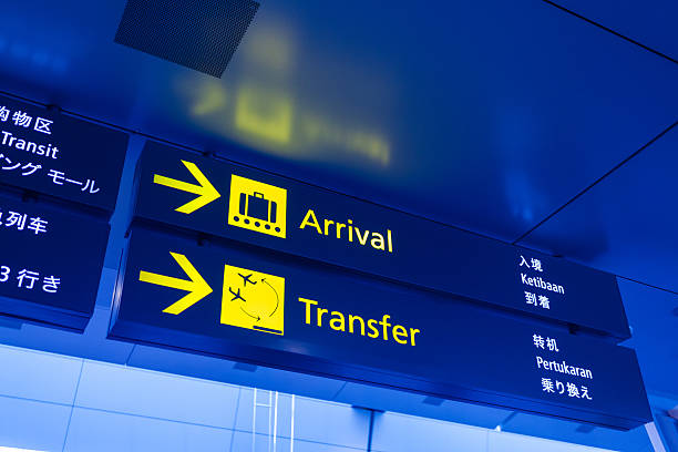 Arrival and Transfer Sign Panel at the Airport stock photo