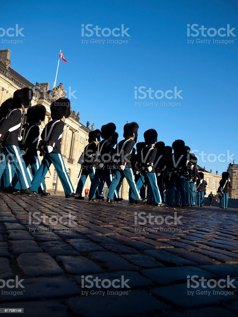 Arrival at Amalienborg Palace for guard change royalty-free stock photo