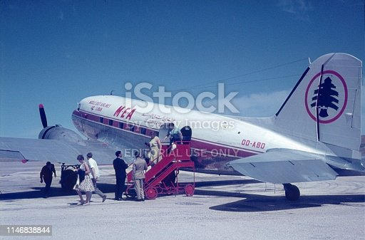 Jerusalem, Israel, 1964. Arrival at the airport of Jerusalem. Passengers leave a plane of a Lebanese airline.