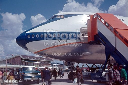 Windhoek, Namibia, 1974. Arrival at the airport of Windhoek with the Boeing 747