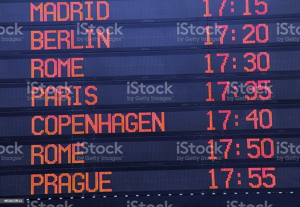 Arrival Departure Board in  International Airport stock photo