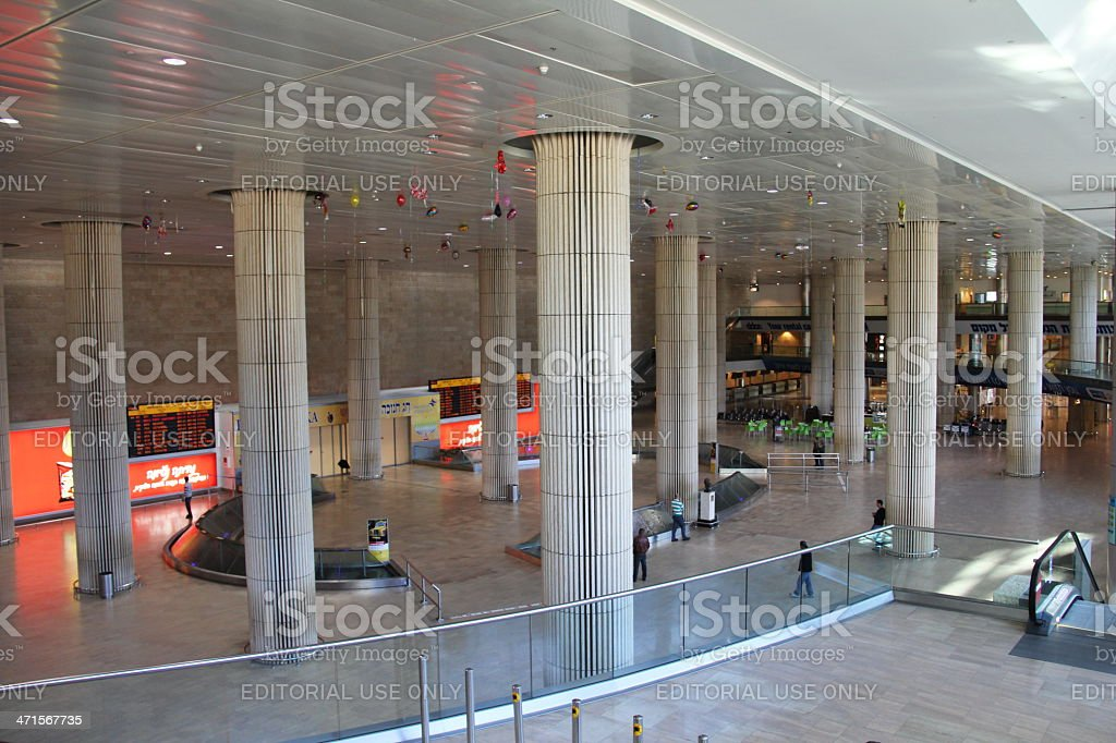 Arrival Hall of  Ben Gurion Airport stock photo
