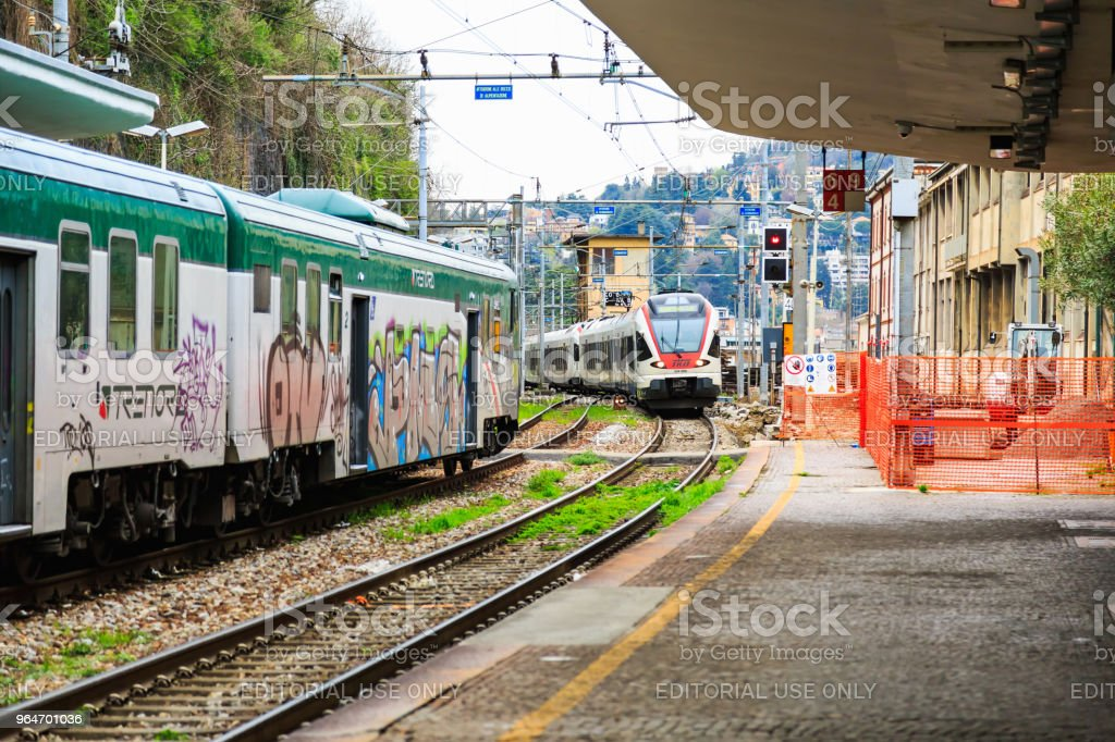 Arrival of Italian regional train royalty-free stock photo