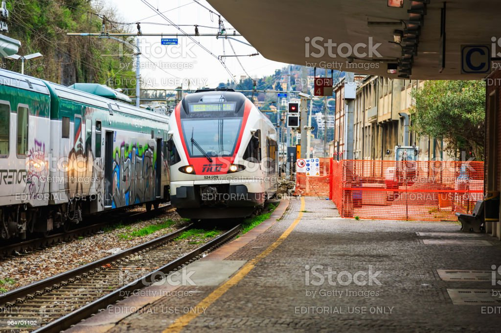 Arrival of Italian regional train royalty-free stock photo