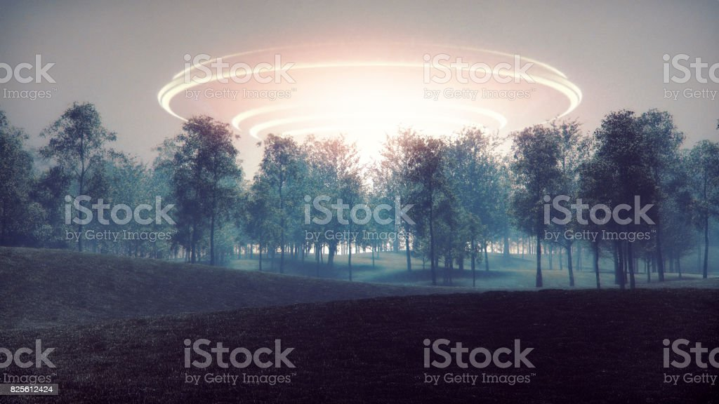 Arrival of mysterious alien spaceship stock photo
