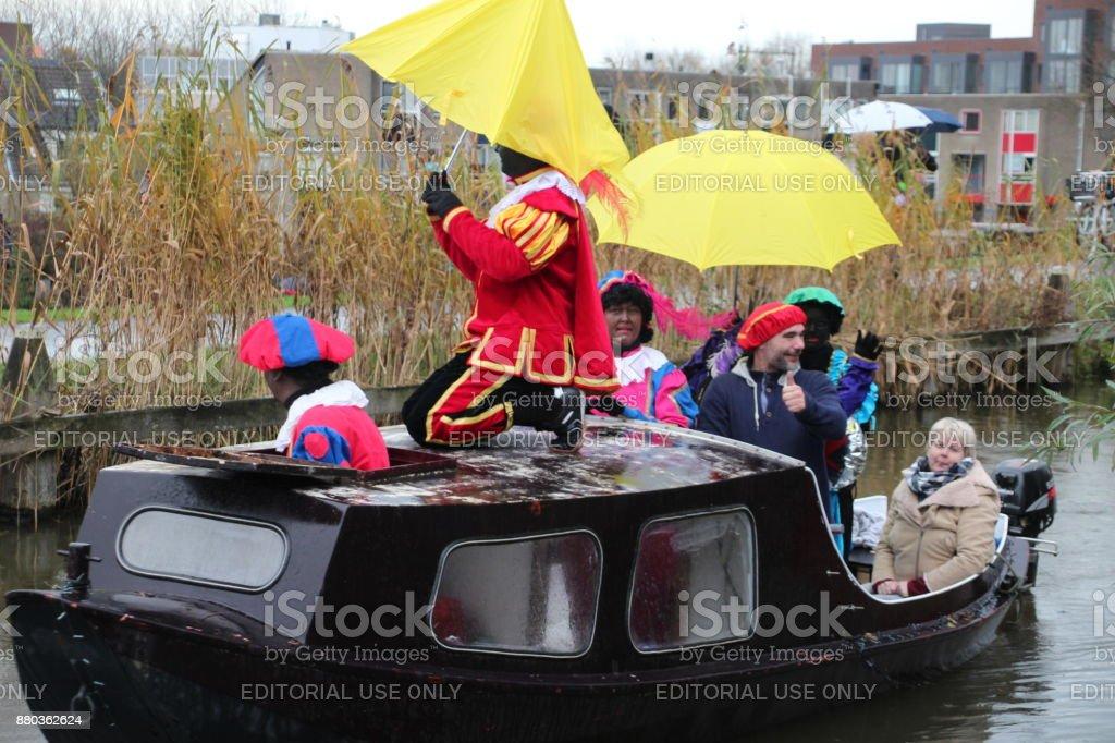 Arrival of sinterklaas in the ring canal in Nieuwerkerk aan den IJssel stock photo