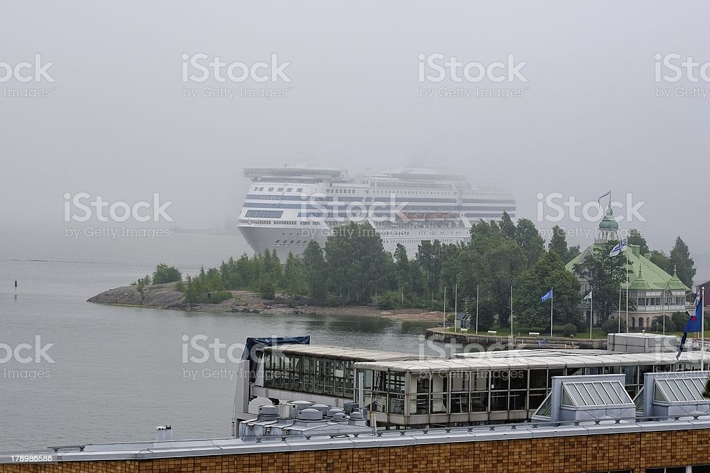 Arrival of the ferry in harbor royalty-free stock photo