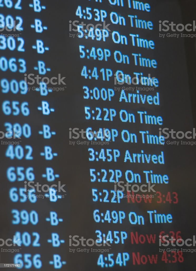 Arrival schedule royalty-free stock photo